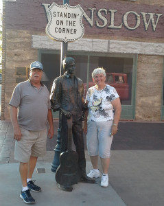 "In their song ""Take it Easy,"" The Eagles sing about ""standing on the corner of Winslow, Arizona…"" Bill and Nellie Franzel got to do just that, complete with the ""girl my lord in a flatbed Ford tryin' to take a look at me"" in the background window."