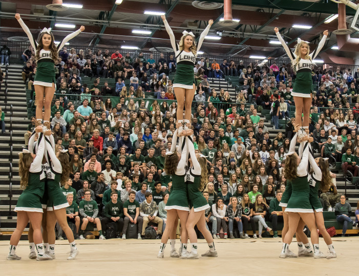 Homecoming Week thrives at LOHS — The Lake Orion High School varsity cheerleaders performed during a pep assembly at the Fieldhouse on Friday, helping get the students fired up for the Homecoming game that evening.