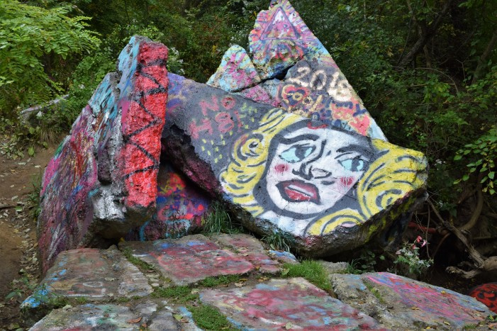Anger over the removal of 'The Rocks' leads to graffiti elsewhere on the Paint Creek Trail