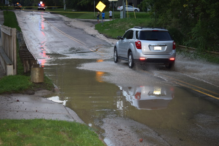 Breaking News — Water main break on Conklin closes road