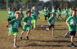 Kristen Leenstra's and Dr. Susan Dandalides's Lower El, Neighborhood A classes begin their Fun Run at Orion Oaks.