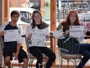 (From left) Juniors Marc Hesse Jr. and Laura Hartman and senior McKenna Carron of the LOHS Teens in Action group said there were more important things in their lives than succumbing to drugs and alcohol.  Photo by Jim Newell.