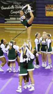 The Lake Orion Varsity Cheer team gave it their all at the CCCAM Scholarship Invitational  Dec. 10. Photo provided