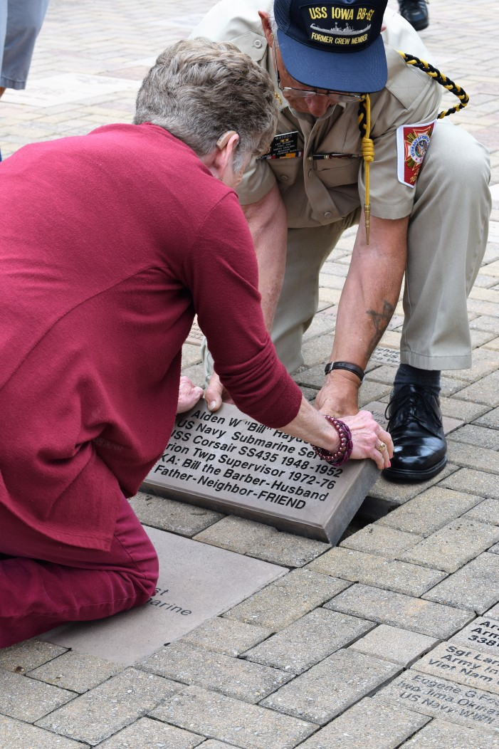 Former Twp. Supervisor Bill Haydel gets commemorative stone at Vets Memorial