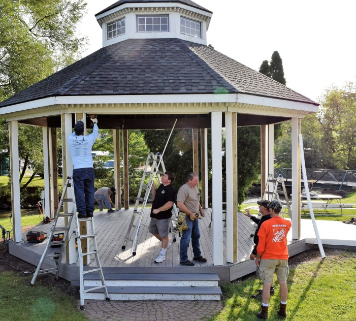 Home Depot, LOPD completing gazebo repairs