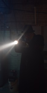 Actor Grover McCant, who plays Detective Nightengale in the film, during one of the scenes shot at the Ehman Center. McCant's character is investigating the strange occurrences in a fictional Lake Orion.