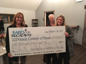 (From left) Kim Wehner, special events coordinator for Grace Centers of Hope, accepts a $5,000 donation from Peggy Barry Bartz and Samantha Smart of The Event Place. Photo by Jim Newell