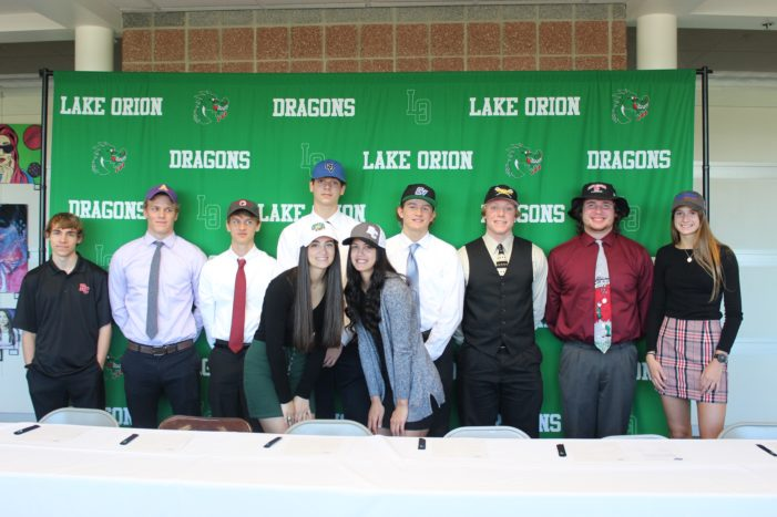 10 more Lake Orion athletes sign letters of intent to play college sports on April 24
