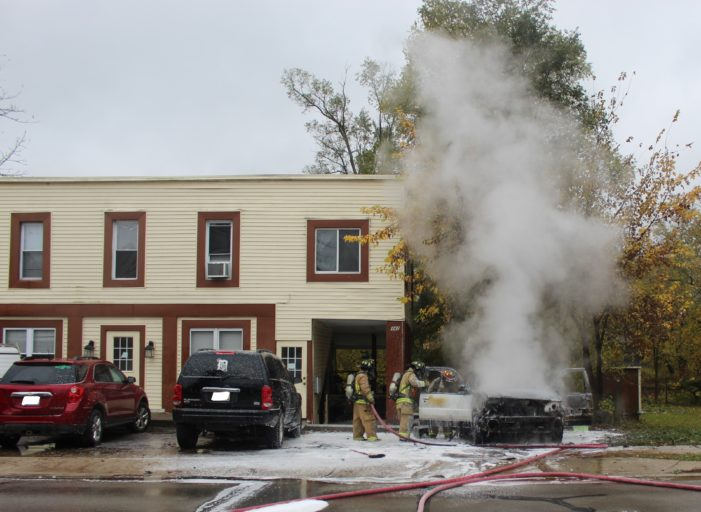 Car catches fire on Flint St. — firefighters extinguish blaze, prevent spreading