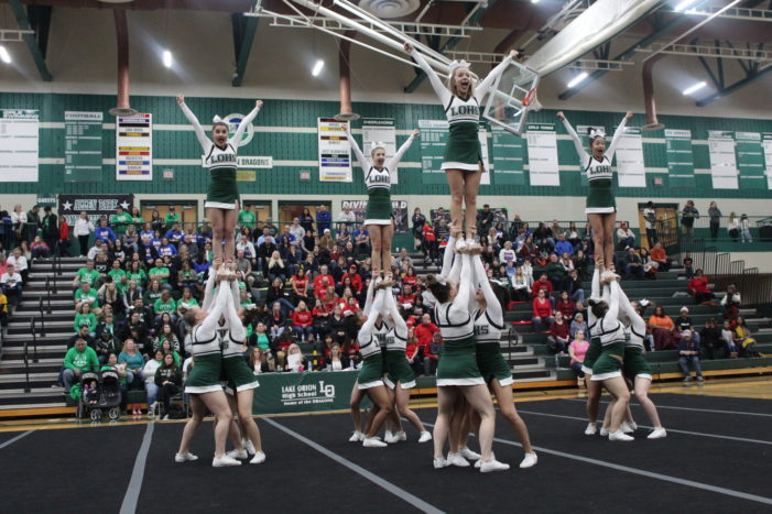 LOHS Cheer hosts, takes 5th place at Dragon Invite on Sat.