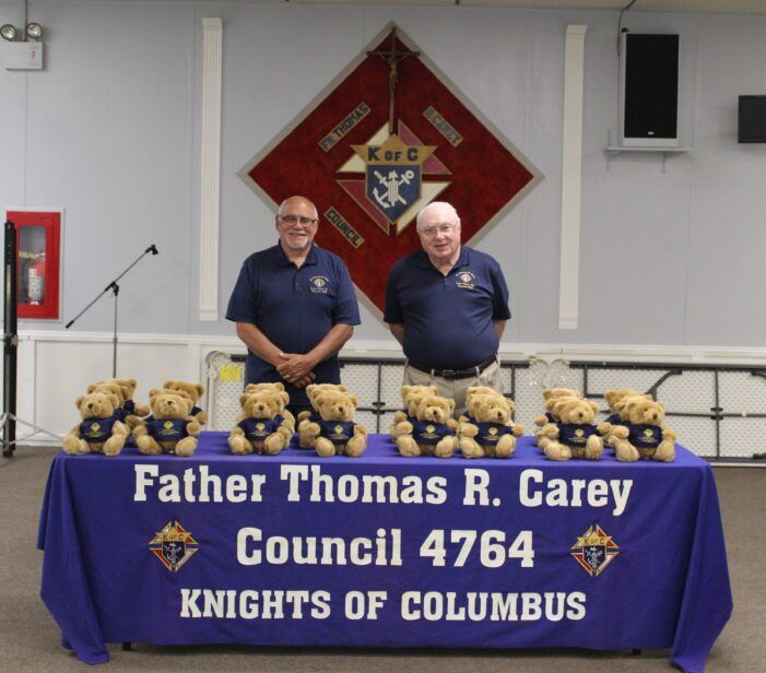 Knights of Columbus make donation to police and fire stations